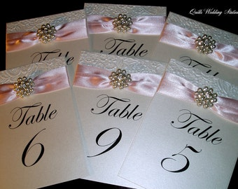 Wedding Table Number. Luxury Table Name.  Pearl and Diamante Wedding.