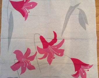 Vintage 1970s Vera Neumann Pink Floral/Grey Scarf