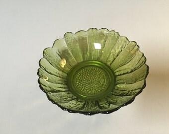 GREEN FLOWER GLASS Bowl, Vintage Sunflower glass bowl, Small green glass bowl, vintage green glass, cut glass bowl, green home decor, gift