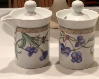 Sugar Bowl with Lid and Creamer with Lid in Umbrian Flowers by Dansk