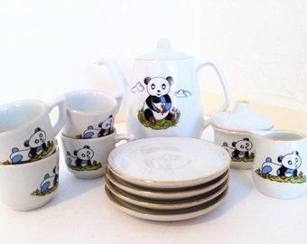 Vintage 1960s children's tea service tea set panda bear