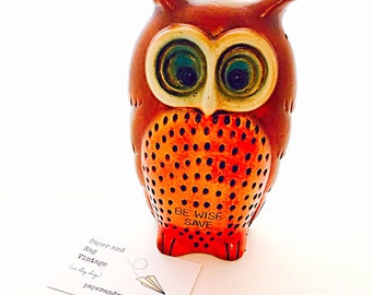 """1960s OWL BANK: Kitschy Plaster hollow figurine; 7"""" tall; """"Be Wise And Save;"""" Slight damage.  Bright groovy colors!"""