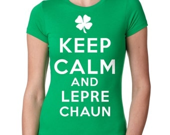 Leprechaun T-Shirt Saint Patrick's Party Woman Top Tee Shirt Shamrock Clover Shirt