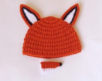 Fox Hat With Removable Nose Hat  Wig - Halloween Newborn Hat - From Baby size to Adult / Cosplay