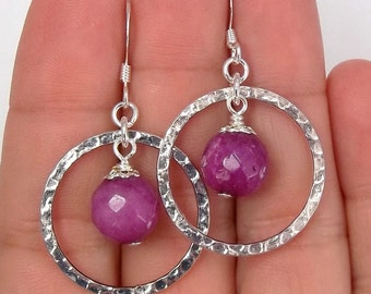 "Purple ""jade"" Earrings • Silver Earrings • Dangle Earrings • Hoop earrings •"