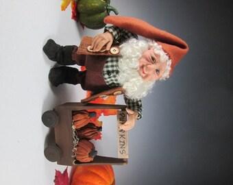 "Fall Elf Doll, Art Doll, Pumpkin Collector, Fantasy Art Doll,   ""Tucker Collects His Pumpkins"""