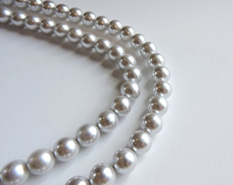 """Vintage Richelieu Gray Pearl Necklace, 36"""" Long Gray Pearls, Faux Glass Pearls, Light Pale Dove Gray, Signed Richelieu Jewelry, Costume"""