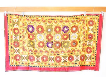 Indian mirror work tapestry (0001) Wall Hanging Tapestry Ethnic tapestry Mirror work India Indian mirror work wall hanging