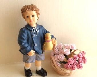 Miniature Boy Holding Duck Dollhouse Figurine