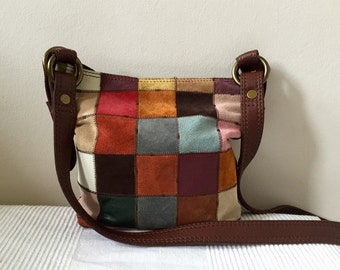 Vintage Lucky Brand Multicolor Patchwork Hobo Shoulder Bag Purse