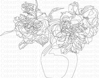 Vase of Roses Colouring Page - Instant Download #10 printable download