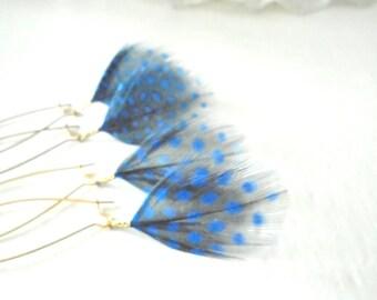 Blue Feather Earrings, Guinea Hen Feathers, Pretty Dangles, Feminine Jewelry, Spotty Jewelry