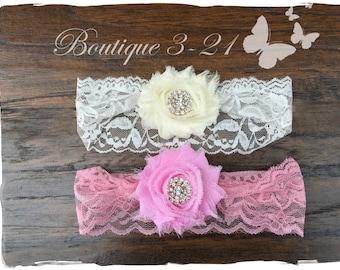 Newborn Ivory headband, Newborn Pink headband, Infant Ivory headband, Infant Pink headband, Infant lace headband