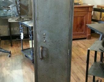 Vintage industrial stripped steel single school locker