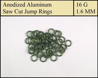 100 Military Green Aluminum Jump Rings - 1.6mm = 16 gauge (SWG) = 14 gauge (AWG) wire - Anodized 5356 Aluminum - Saw Cut - On sale!!