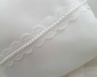 Ring bearer pillow with lace and pearls