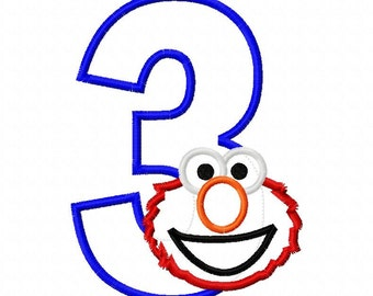Red Monster Birthday Third 3 Applique Design Applique Machine Embroidery Design elmo