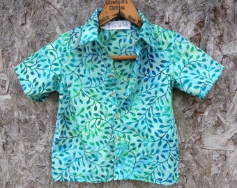 Girls bowling shirt / boys bowling shirt / hipster batik button-down shirt / Funky party shirt with turquoise leaves / Made to order