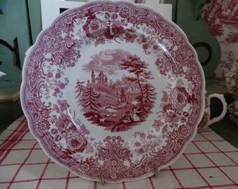 CODE: MOVINGSALE 35% OFF William Ridgway Co Red Transferware Plate in the Tyrolean Pattern featuring  Goat Herders overlooking the Alps.
