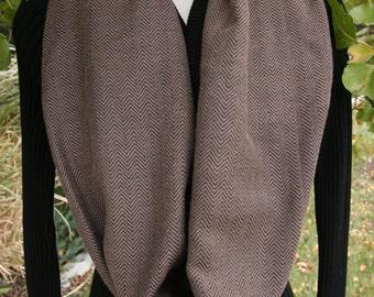 Scarf Infinity Wrap Brown Black Herringbone Pattern Extra Wide Ladies Gift