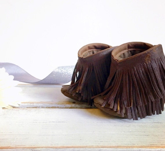 Baby fringe boots baby moccasin boots chocolate brown baby