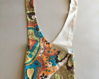Handmade Upcycled Multicolor Print Hobo Shoulder Purse