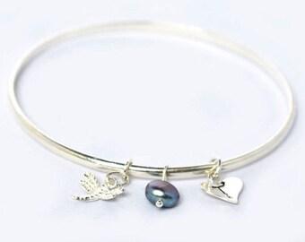 Personalised bangle - Dragonfly bangle bracelet - silver bangle - charm bangle - sterling silver bangle - Bridesmaids gift -