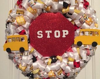 School Bus Ribbon Wreath