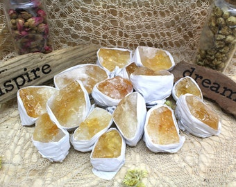 """Rough Citrine Flat Box - Box Size 7.5x5x2"""" - Brazilian Crystals and Stones - Crystal Collection - Reiki Crystals (RK113TS)"""