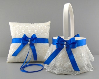 Royal Blue Wedding Bridal Flower Girl Basket and Ring Bearer Pillow Set on Ivory or White ~ Double Loop Bow & Hearts Charm ~ Allison Line
