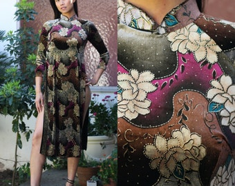 VELVET CHEONGSAM DRESS Chinese Mandarin Collar Floral Tunic 3/4 Sleeves Gold Brown Size S