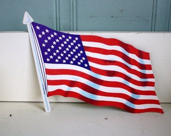Die Cut American Flag Dennison Co 1960s Patriotic Decor 4th of July Decoration