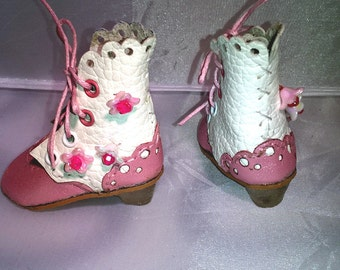 White and pink sakura Boots for BJD doll MSD