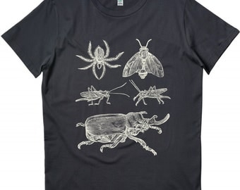 Insects Bugs Mens Organic Cotton Screen Printed T-shirt