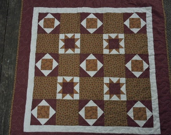 """Just Reduced!  Wheelchair Quilt, Mini Quilt or Wall Quilt in Burgundy and Gold Kansas Troubles Fabrics   35"""" x 35"""""""