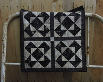 "Mini Quilt or Wheelchair Quilt in Black and Cream      33"" x 33"""