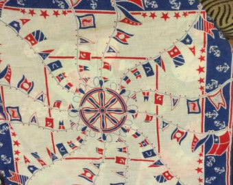 Beautiful vintage nautical handkerchief scarf linen red white blue