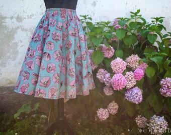 Pink Poppies 50s skirt // Gonna a ruota con Papaveri Rosa disegnata da Insunsit