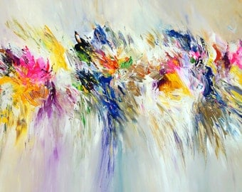 "Large Abstract Painting 68.9 "" x 33.5 "" Original XL Acrylic, unstrechted,  Artist Peter Nottrott."