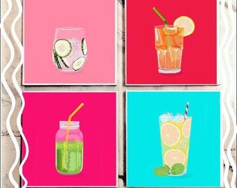 Summer Refreshments Tile Coaster Set