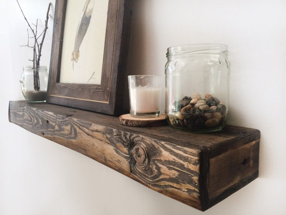 chunky rustic reclaimed wood floating shelves by studio8to10. Black Bedroom Furniture Sets. Home Design Ideas