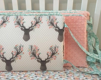 Little Oasis Custom Crib bedding. Bumper; deer with pink, mist floral antlers; light coral pink minky dot; mist floral trim and ties.