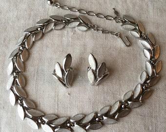 Vintage Trifari Set, Necklace, Earrings, Demi Parure, Silver Tone, Brushed Silver, PK124