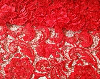 blue lace fabric, red dress lace fabric, Dress lace fabric, alencon lace, Rayon fabric by yard SALE
