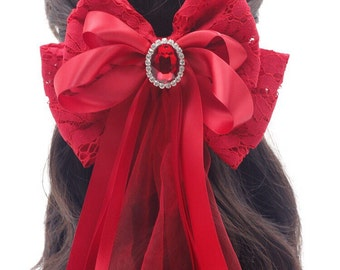 French Lace Fabric Oversized Bow Barrette, Maleficent - big hair bow, large bow, lolita hair bow - available in Black / Red / White / Pink