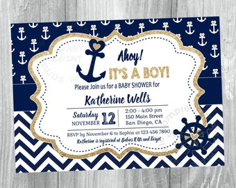 Nautical Baby Shower Invitation. Gold and Navy Blue Nautical Printable Invitation. Baby Boy Shower.