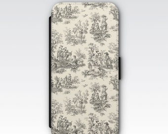Wallet Case for iPhone 8 Plus, iPhone 8, iPhone 7 Plus, iPhone 7, iPhone 6, iPhone 6s, iPhone 5/5s - Black & Cream French Toile Case