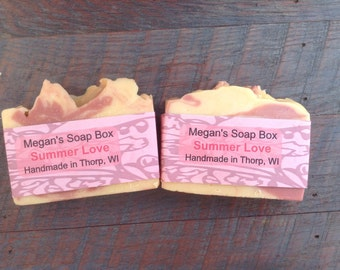 Bar soap Summer Love - fruity scented soap - apple soap - peach soap.