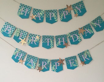 Birthday banner, mermaid themed banner, mermaid birthday banner