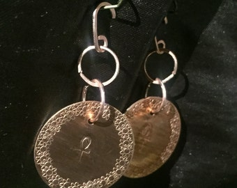 Copper Disk with Ankh Earrings